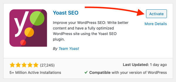 Activate the Yoast SEO WordPress plugin