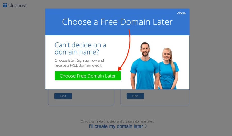 Bluehost WordPress tutorial - Choose domain name later