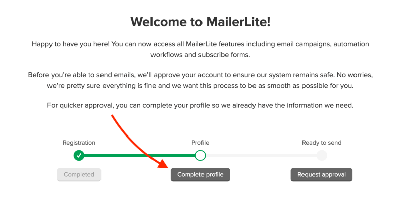 Complete your MailerLite profile