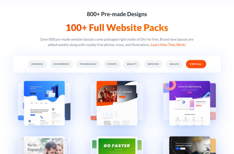 Divi theme pre-made design packs - WordPress themes for bloggers
