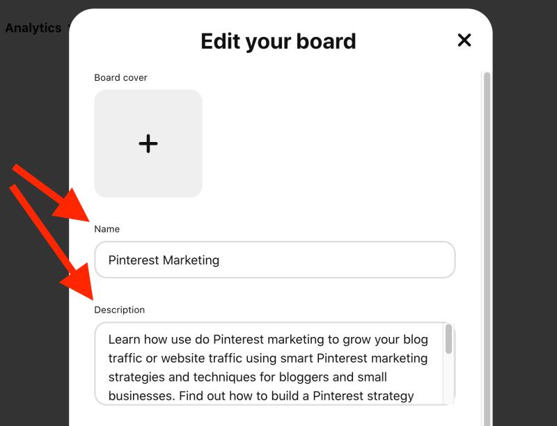 Edit your Pinterest board title and description