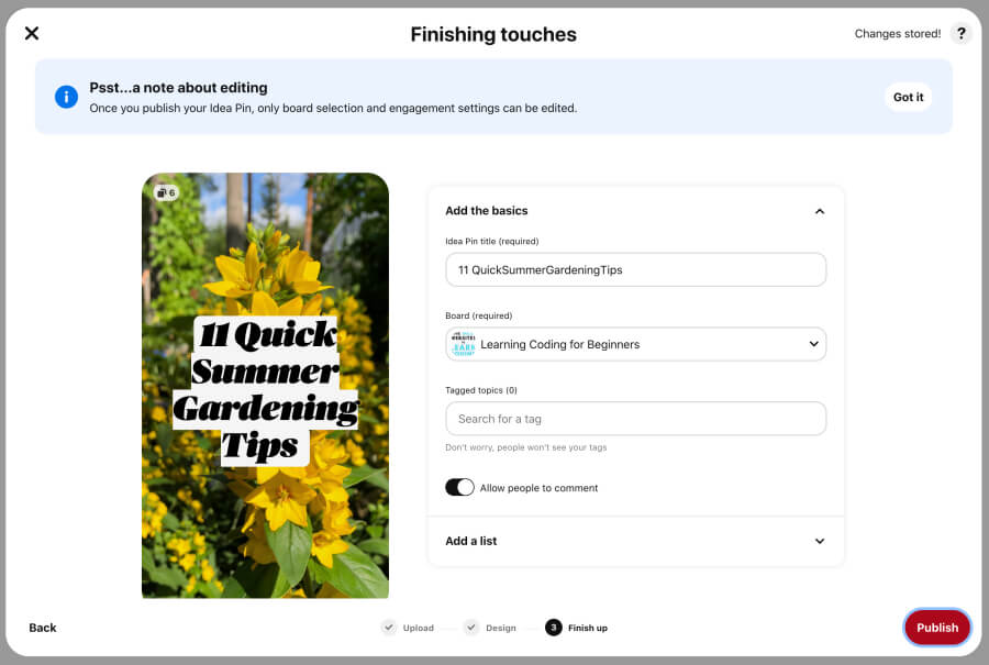 Finishing touches for Idea Pins on Pinterest