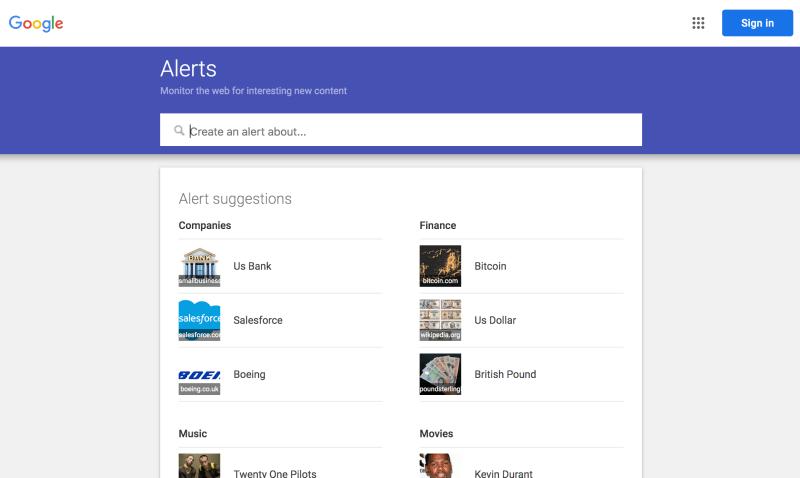 Google Alerts - Find blog post ideas fast