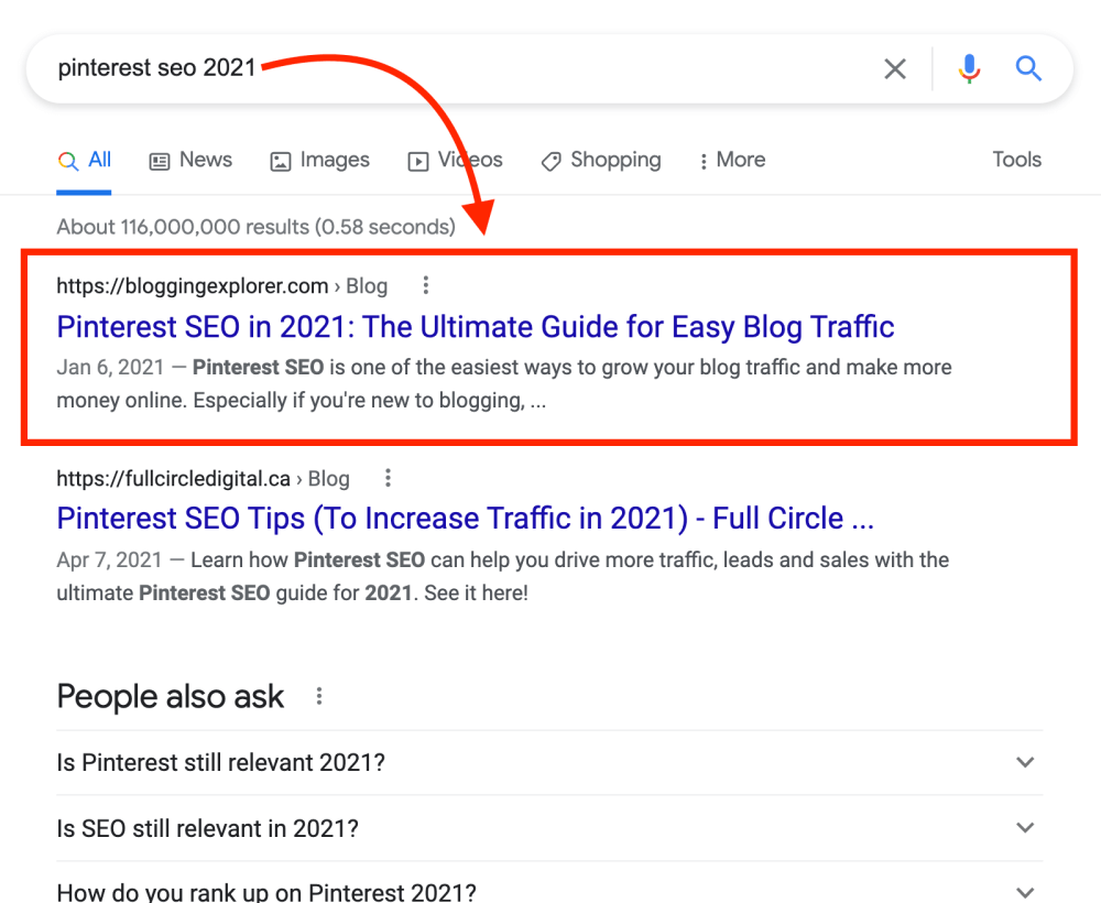 Google search results for Pinterest SEO