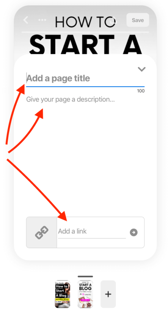 How to create Story Pins - How to add page title, page description and add a link to your website