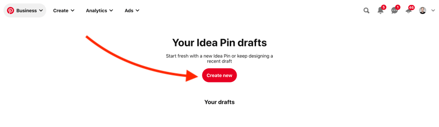 How to create a new Idea Pin draft on Pinterest