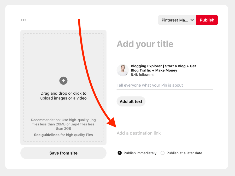 How to create a new Pinterest pin - Add a link to your website or blog
