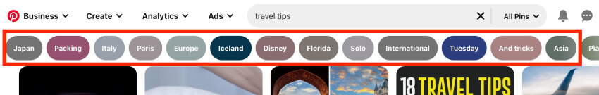 How to find Pinterest keywords with the search bar – Pinterest guided search tool
