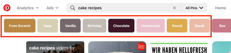 How to find Pinterest keywords with the search bar