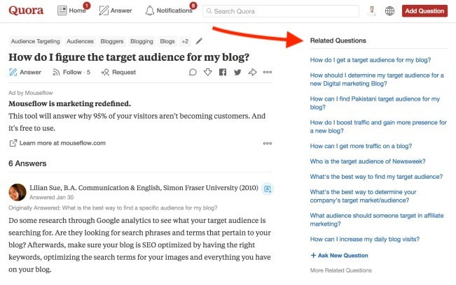 How to find your blog target audience - Using Quora to find blogging ideas in your blog niche