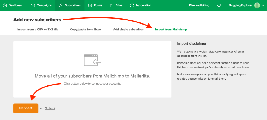 How to import email subscribers from Mailchimp to MailerLite - Blogging Explorer