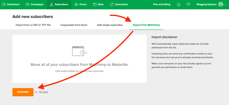 How to import email subscribers from Mailchimp to MailerLite