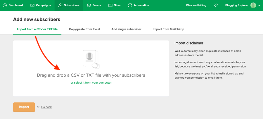 How to import subscribers from CSV file to MailerLite - Blogging Explorer