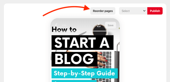How to reorder pages in Story pins