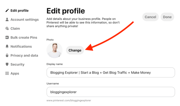 How to upload a new Pinterest profile photo