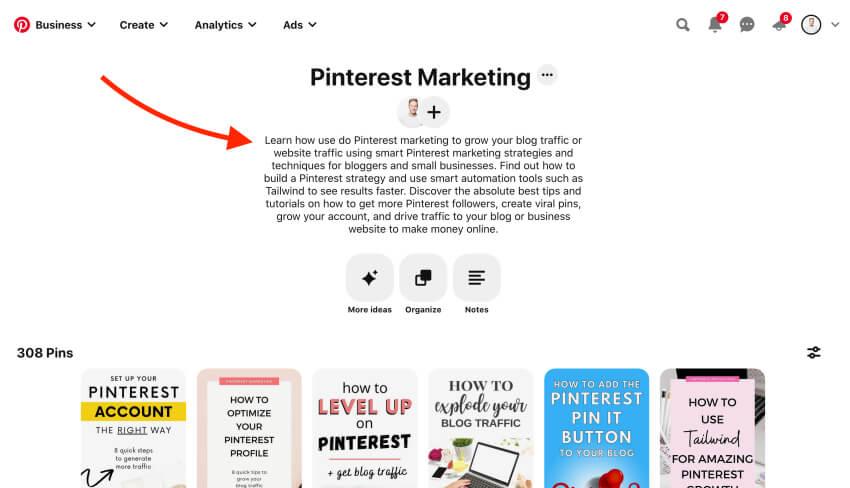 How to write a Pinterest board description - Pinterest marketing tips for beginners