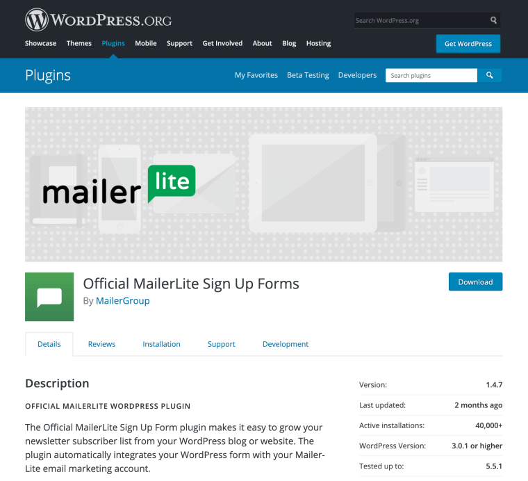 MailerLite WordPress plugin - Blogging Explorer