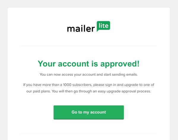 MailerLite account approved email confirmation - MailerLite guide for beginners