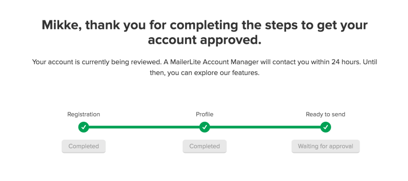 MailerLite account being approved