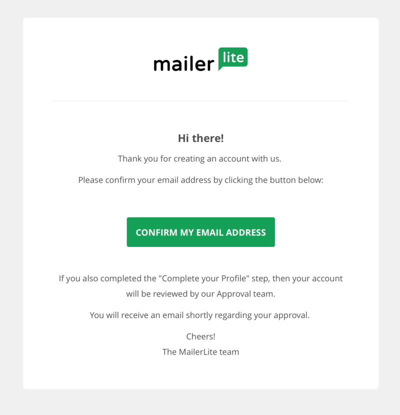 MailerLite account confirmation email - MailerLite review