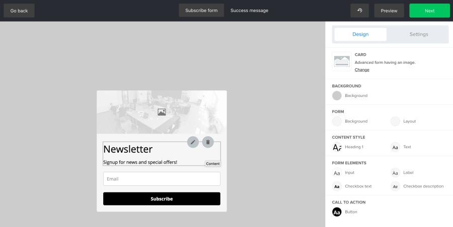 MailerLite embedded form customization options