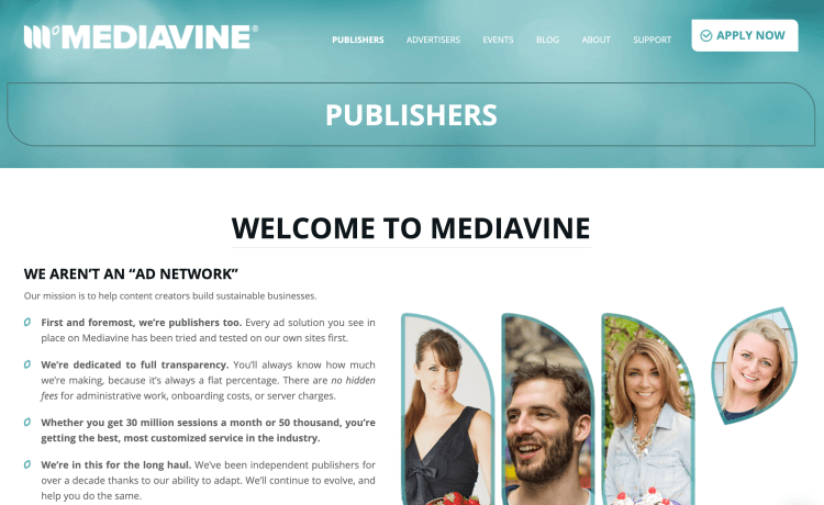 Mediavine ad network for bloggers and publishers
