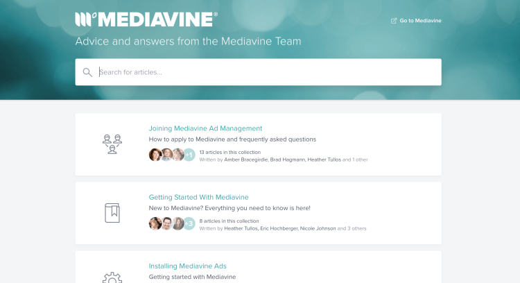 Mediavine help docs - Answers and helpful articles