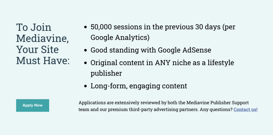 Mediavine requirements for publishers to join