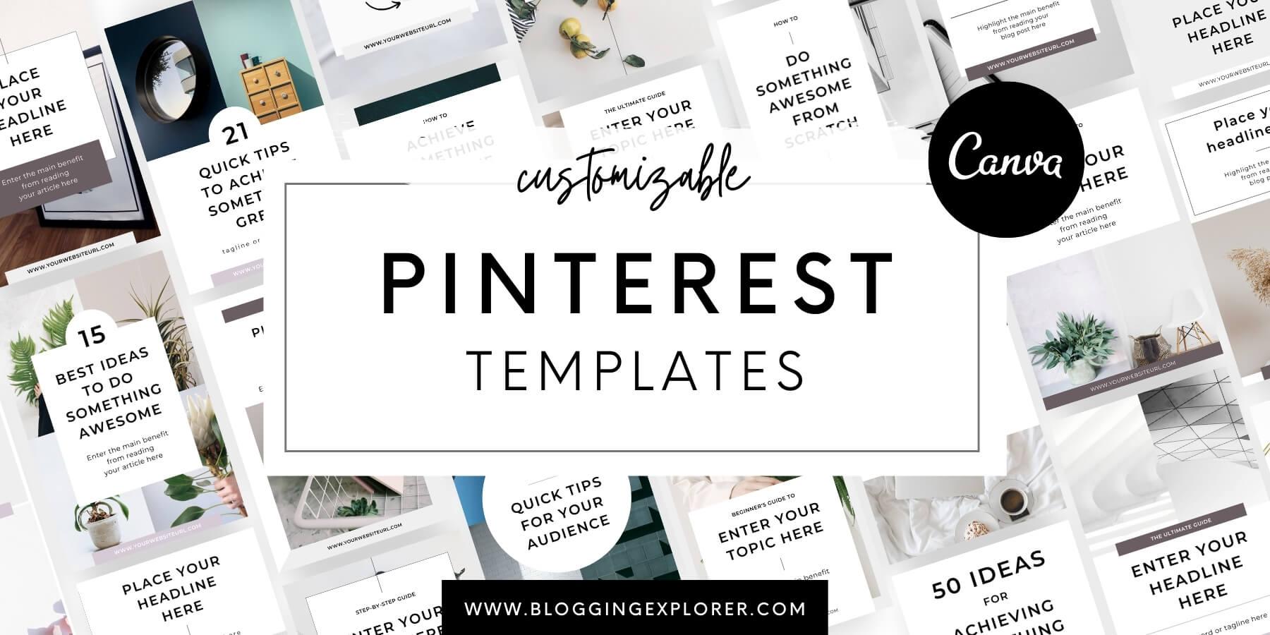 Minimal Canva Pinterest Templates for Bloggers - Blogging Explorer