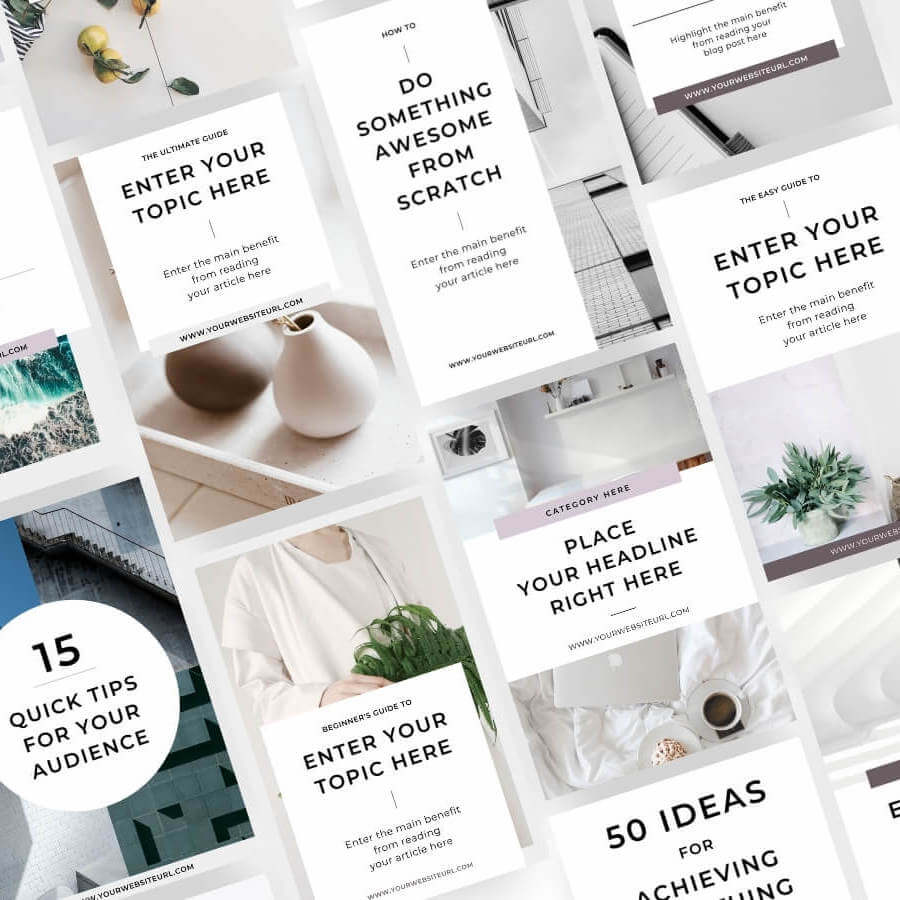 Minimal Canva Pinterest Templates for bloggers and content creators - Product preview grid small