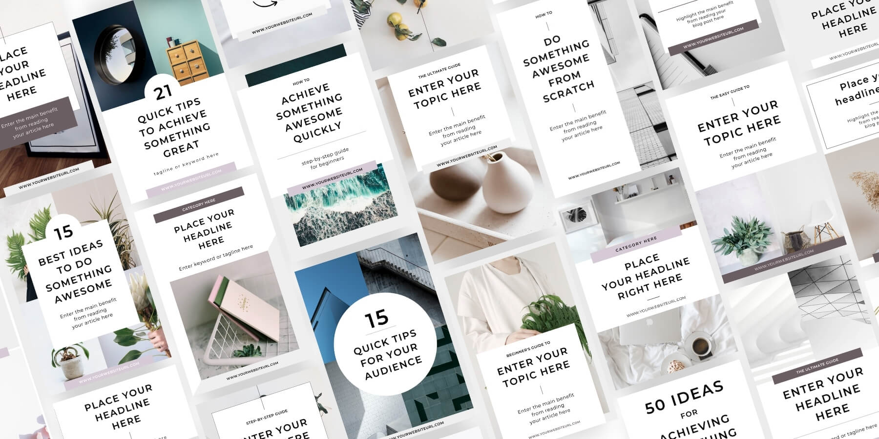 Minimal Canva Pinterest Templates for bloggers and content creators - Product preview grid