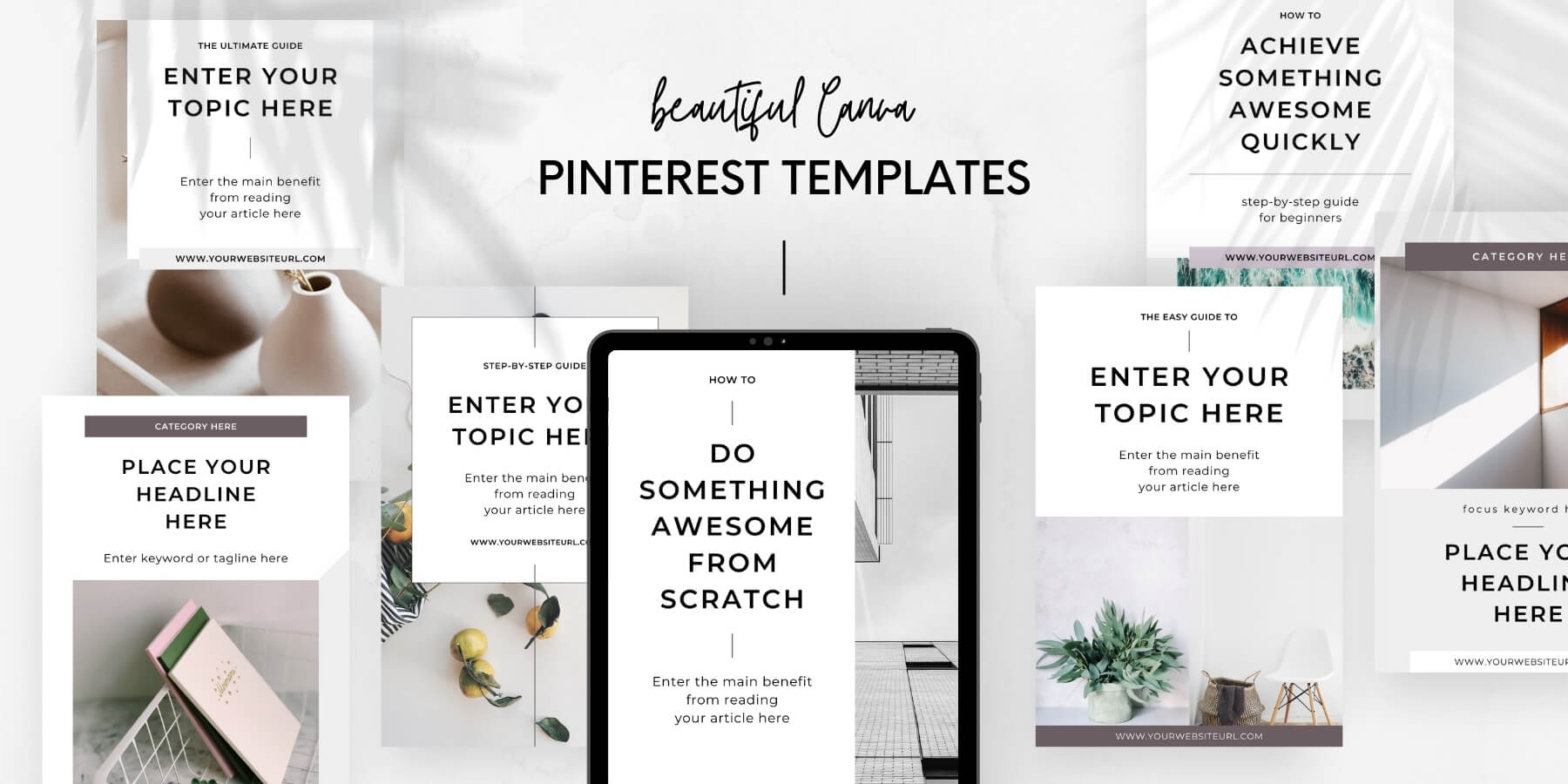 Minimal Canva Pinterest Templates for content creators and bloggers - Product preview