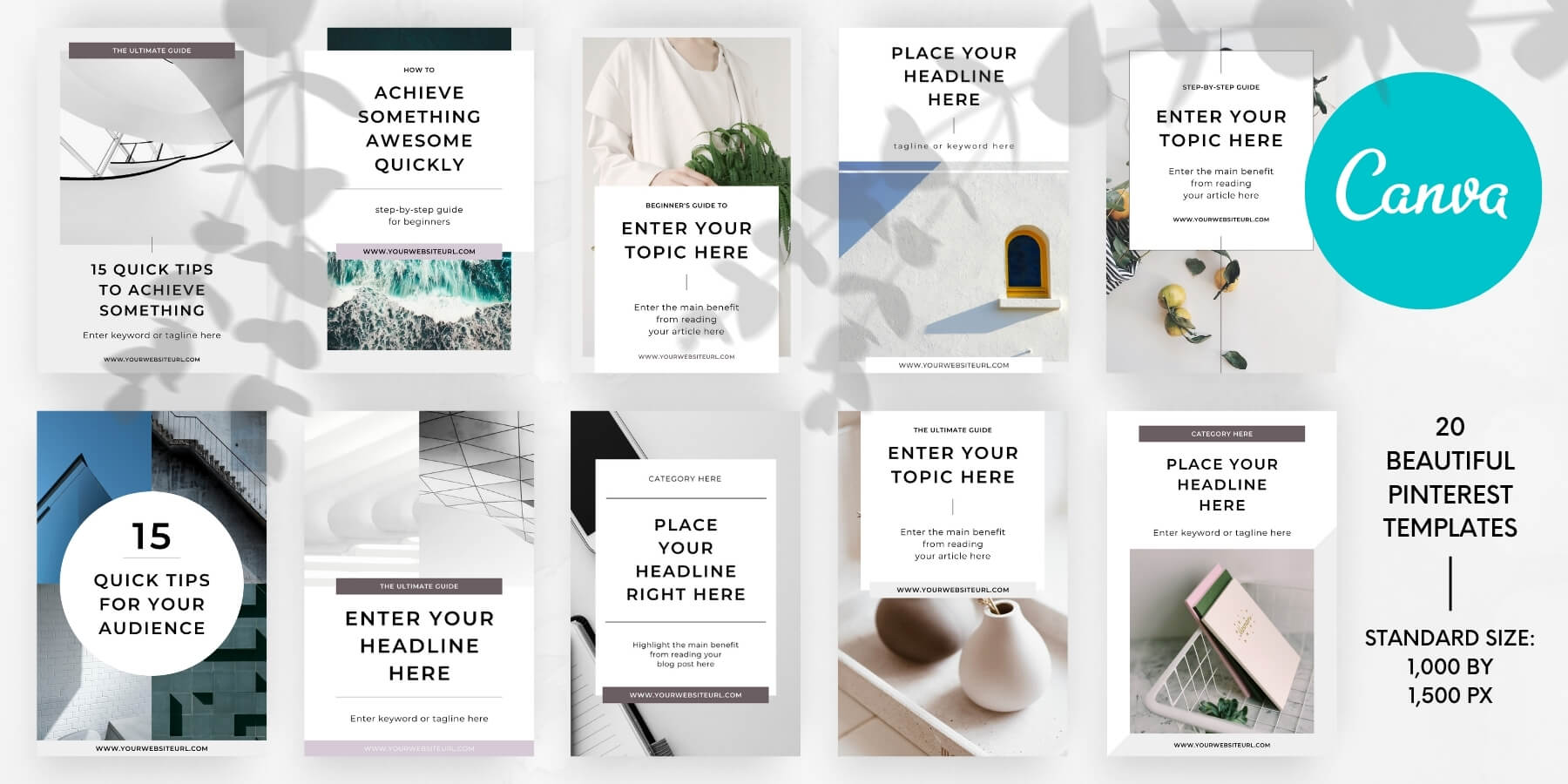 Minimal Canva Pinterest templates pack - Product specs