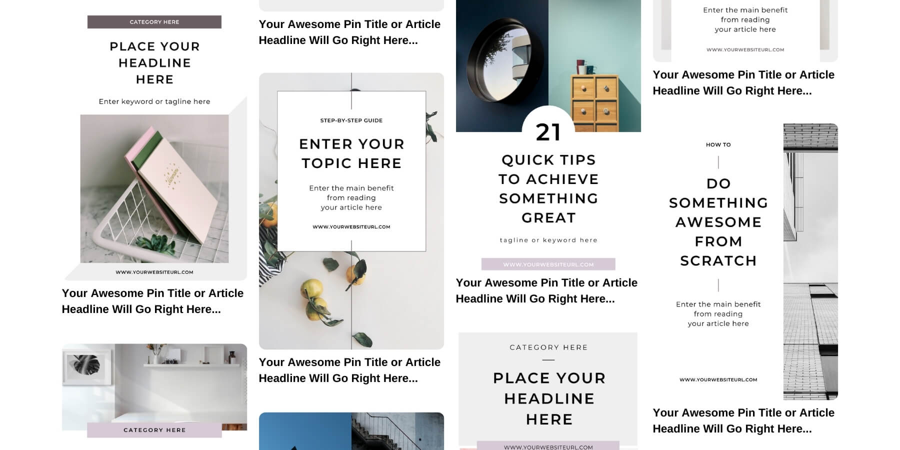Minimal Pinterest templates for bloggers - Product preview