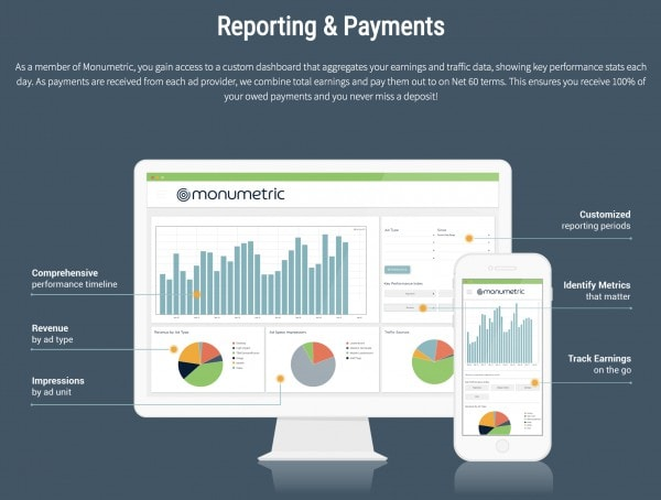 Monumetric ad network - Reporting tools and payments