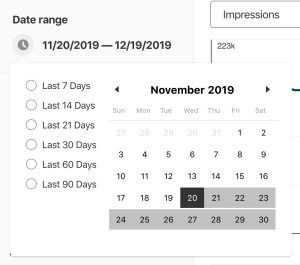 Pinterest Analytics date range selector