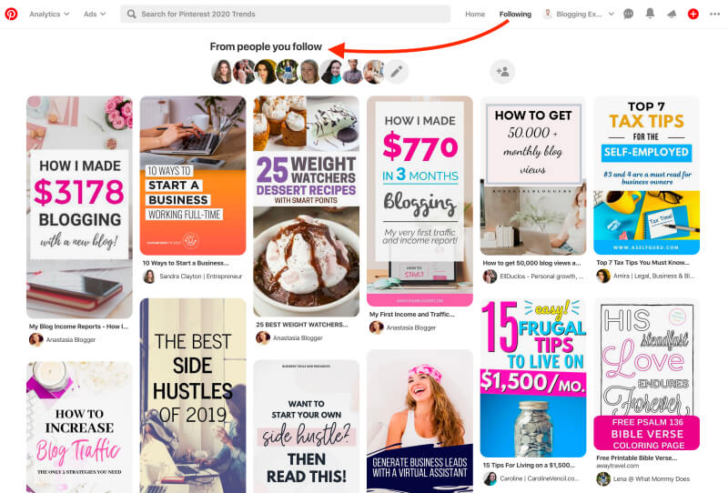 Pinterest Following tab