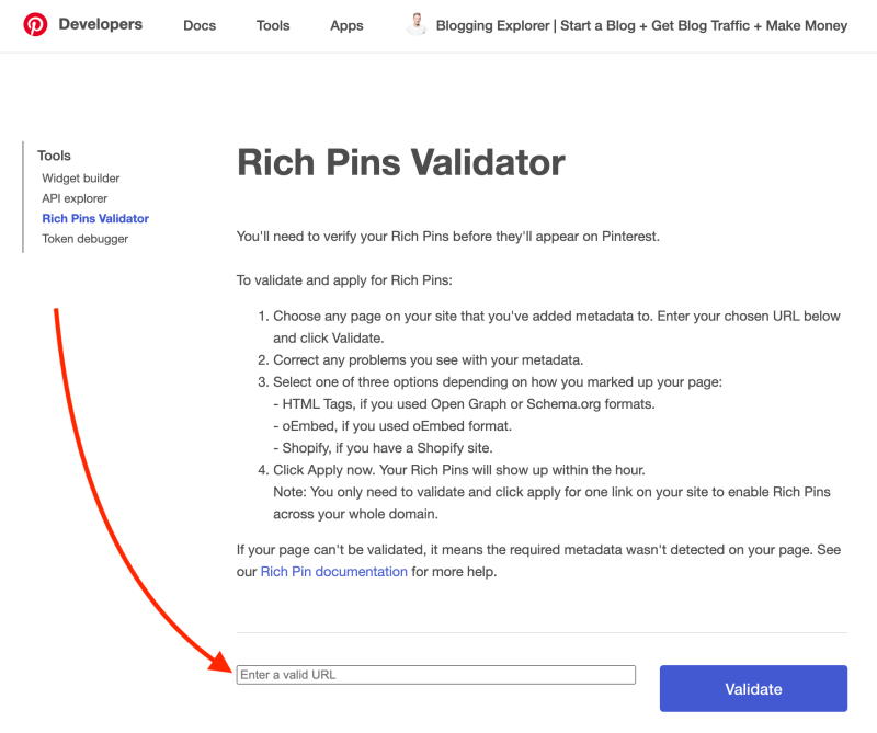 Pinterest Rich Pins Validator tool - Pinterest marketing tips