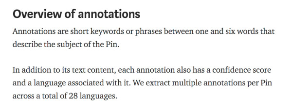 Pinterest SEO and context - Annotations