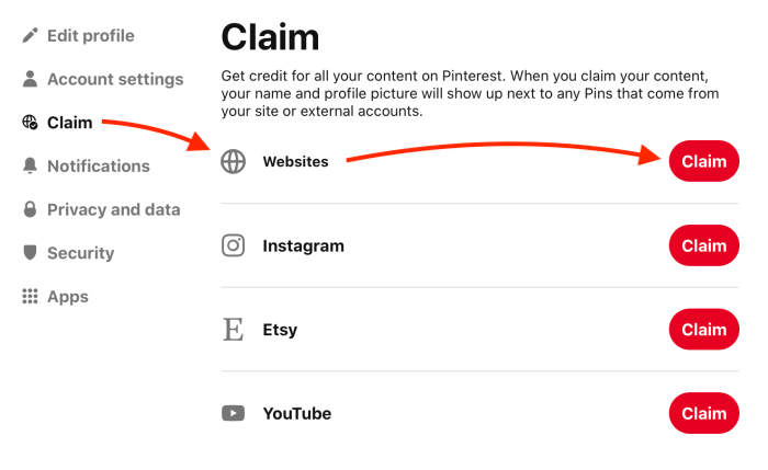 Pinterest account settings - Claim your website
