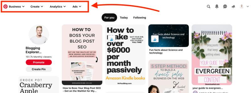 Pinterest business account menu structure