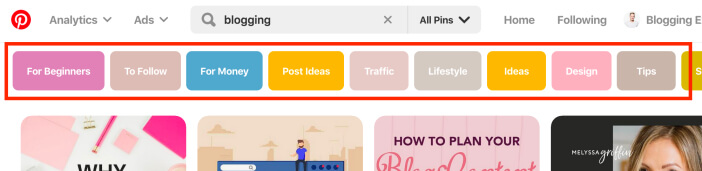 Pinterest related keyword suggestions