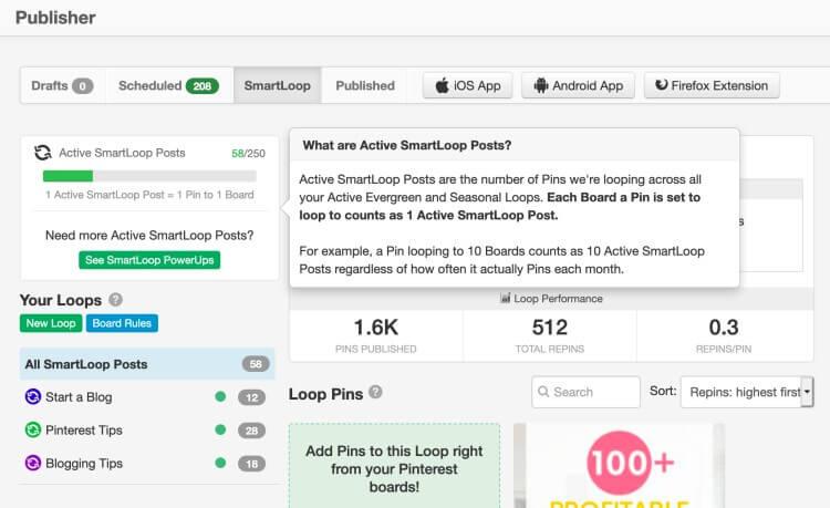 Pinterest tools - Tailwind SmartLoop