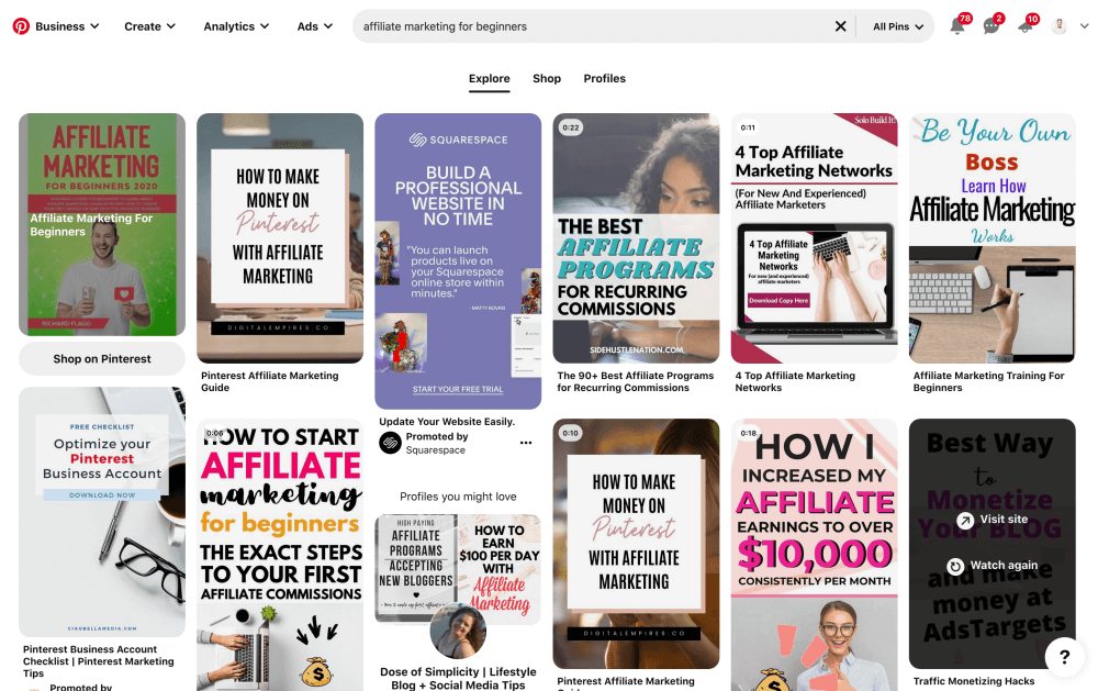 Searching for affiliate marketing for beginners on Pinterest
