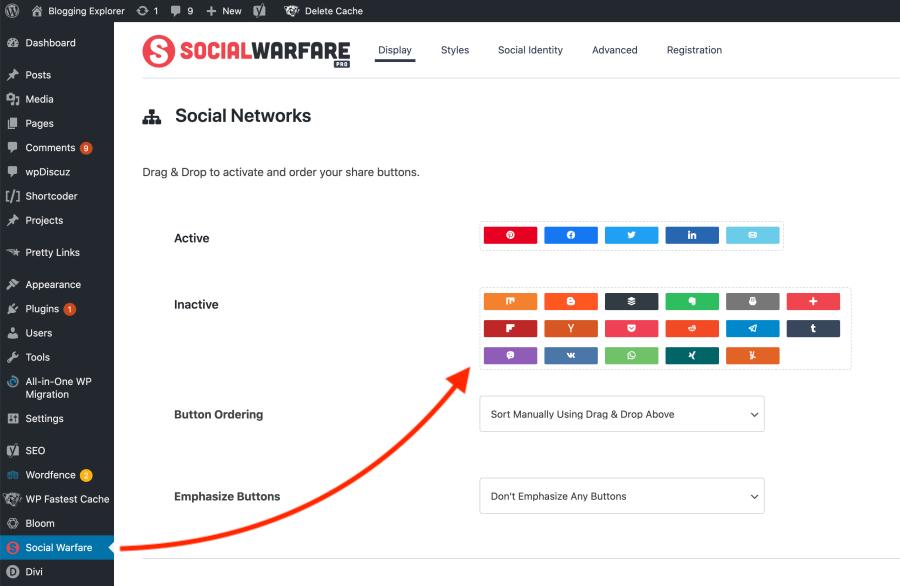 Social Warfare plugin settings