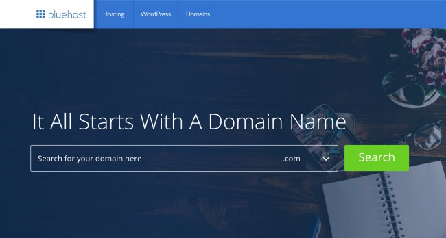 Start a blog to make money online with Bluehost - Register a domain name and sign up for blog hosting in 10 minutes