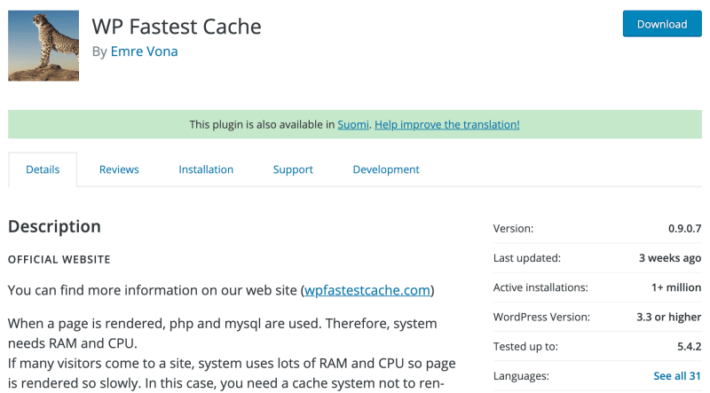 WP Fastest Cache plugin - Speed up your WordPress blog website for SEO
